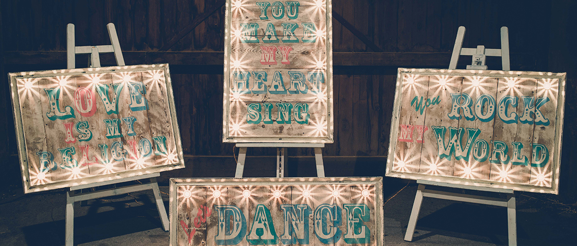 Hire vintage wedding signs