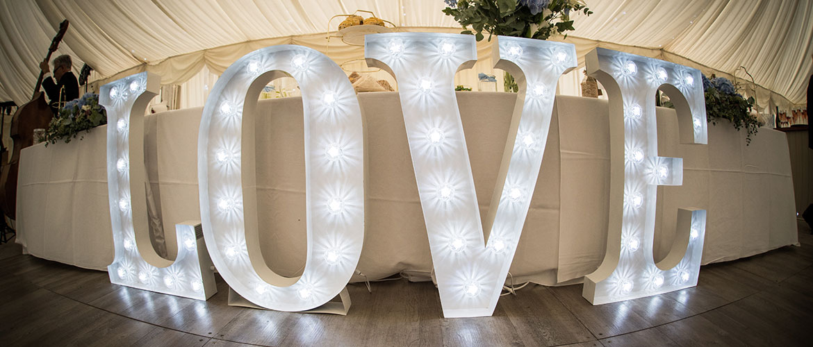 Illiuminated light up love letters to hire