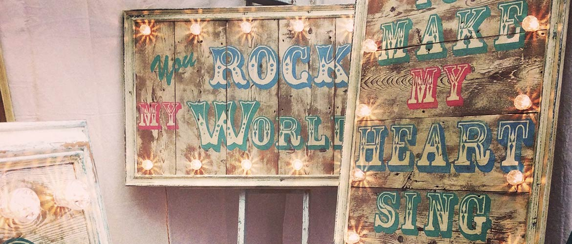Vintage fairground wedding sign hire Norfolk